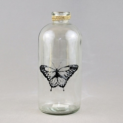 Glass bottle - Black Butterfly - big