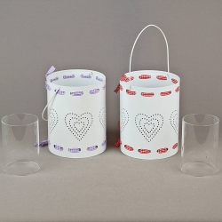 Cylinder candle holder with heart - mix