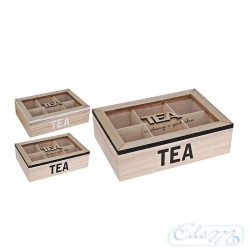 Wooden tea box - 6 dividers