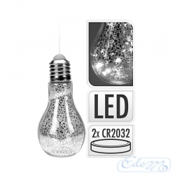 Silver bulb with LEDs - hanging decoration