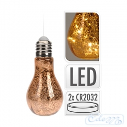 Copper bulb with LEDs - hanging decoration