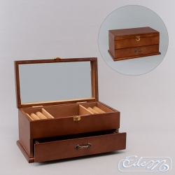 Casket for jewelry with a drawer - brown