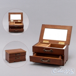A small casket for jewelry with a drawer - brown