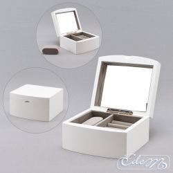 A round casket for jewelry - white