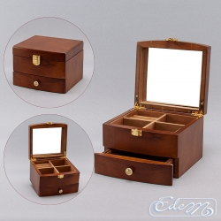 A square casket for jewelry with a drawer - brown