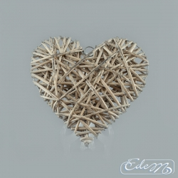 Wicker heart - gray - 30 cm