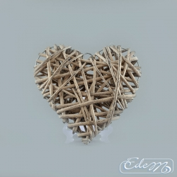 Wicker heart - gray - 25 cm