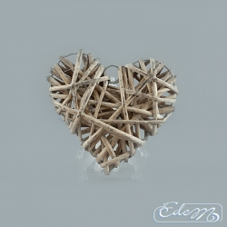 Wicker heart - gray - 15 cm