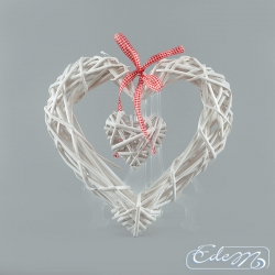 Wicker heart in the heart - white - 30 cm