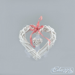 Wicker heart in the heart - white - 20 cm