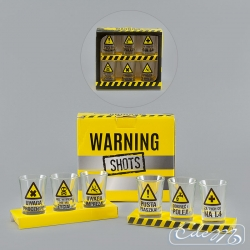 Warning signs - a set of 6 party glasses