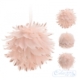 Feather big Christmas bauble - pastel pink