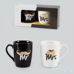 Set of mugs Black & White - Mr / Mrs