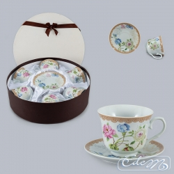 Set of 6 cups - Retro flowers