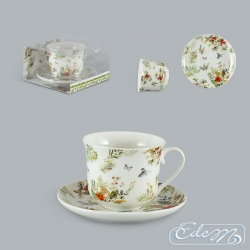 Big ceramic cup - forest flowers