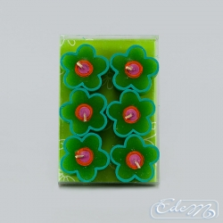 Green flat flowers - a set of 6 decorative candles