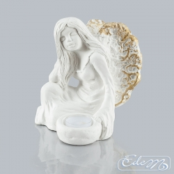 Elena - a gypsum angel with A-27 candle holder