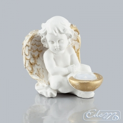 Angel sitting with a candle holder - A-6