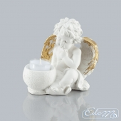 Miruś - a gypsum angel with a candle holder A-31
