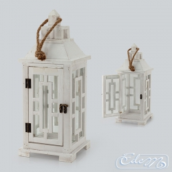 Wooden lantern with grid - S