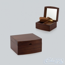 A round casket for jewelry - brown