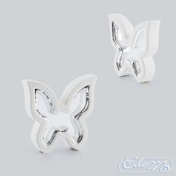 Ceramic butterfly - white and silver